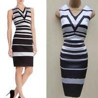 Size 14 UK KAREN MILLEN Black Silver Graphic Stripe Cocktail Party Pencil Dress