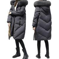 Damen Oversize Baumwollmantel Mode Pelzkragen Kapuze Winter Plusgröße Mantel L