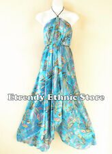 2D107 - Aqua Boho Summer Beachwear Silk Multi Wear Scarf Women Maxi Dress Skirt