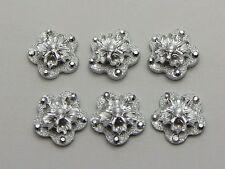 100 Silver Flatback Acrylic Glitter Froal Flower Cabochons 12mm No Hole