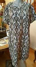 MICHAEL KORS CAMEL ANIMAL PRINT FRONT POCKET SHIFT DRESS SIZE L MSRP 165.00