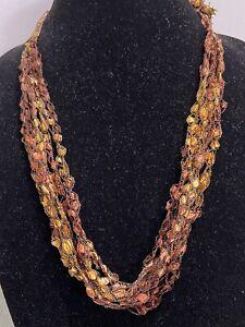 Handmade Ladder / Ribbon Yarn Necklace Gold Brown Black Adjustable Length New