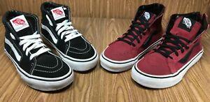 Lot of 2 Vans Kids High Top Shoes Black / Burgundy W Back Zipper US Kids 3