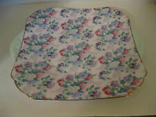 Shelley Summer Glory Pink Chintz Rare Tabbed Cake Plate Square England