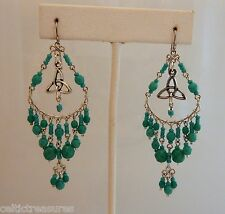 with turquoise glass beads, Irish Boho Celtic Trinity Knot Earrings