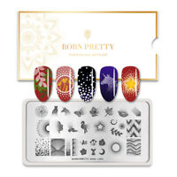 BORN PRETTY Nail Stamping Plates Animal Maple Leaf Rectangle Nail Art Stencils