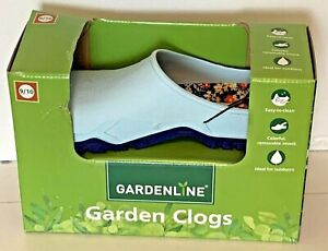 GARDENLINE Garden Clogs NEW Size 9/10 Blue Easy Clean Floral Removable Sock NIB