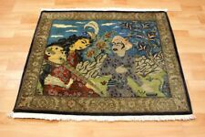 """Bilder KASCHMIR Wolle """"Figurale Darstellung"""" Orient TEPPICH - 80x95cm #0716"""