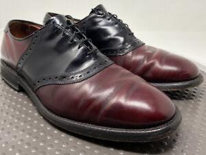 Allen Edmonds Polo Oxfords Dress Saddle Shoe US 10.5 D USA Burgundy Black