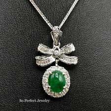 VIVID! 3.66TCW Emerald VS Diamonds 18K solid white gold natural pendant necklace