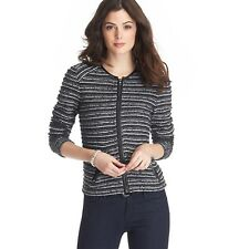 NWT Ann Taylor Loft Metallic Edgy Textured Stripe Crew Neck Sweater Jacket $98 M