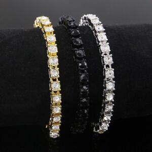 Hip Hop Rhinestone Bracelet Gold Iced Chain Mens Cuban Bling Diamond Bracelet