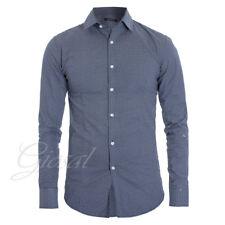 Camicia Uomo Slim Colletto Fantasia Blu Casual Linee GIOSAL