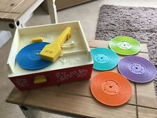 Vintage Collectable Fisher Price Record Player 5 Records 70s
