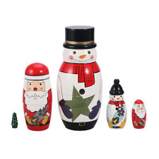 5 Pack Christmas Snowman Wood Hand Painted Russian Nesting Doll Collection Toy