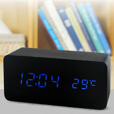Digital LED Wooden Table,Desk Alarm Clock Timer Thermometer Snooze Voice Control