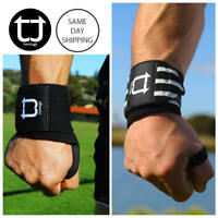 """14"""" TWOTAGS Wrist Wraps LIFTING STRAPS WEIGHT RUBBER PAD STRENGTH GYM TRAINING1"""