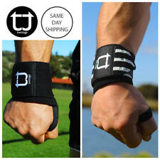 """14"""" TWOTAGS Wraps LIFTING STRAPS WEIGHT RUBBER PAD WRIST STRENGTH GYM TRAINING1"""