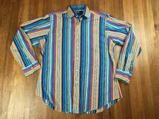 Polo Ralph Lauren Color Blocking Striped Regent Fit Button Up Shirt Mens Sz L