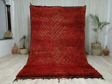 "Moroccan Vintage Zamour Handmade Wool Carpet 5'9""x9'5""  Bohemian Red Shag Rug"