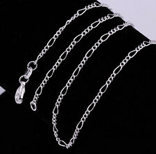 1PCS 16-30inch Jewelry 925 Sterling Silver Plated Figaro Chain Necklace