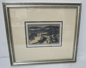 Vintage 1960's Herbert Waters 1903-1996 Woodcut Print Signed Framed