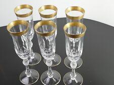 6 Sektgläser mit ziseliertem breiten Goldrand mundgeblasen handgeschliffen