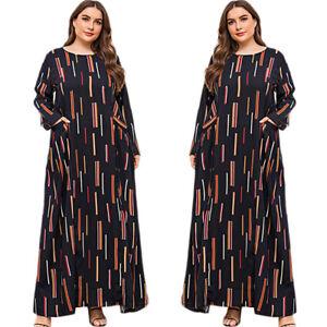 Muslim Women Abaya Printed Maxi Dress Long Sleeve Kaftan Gown Islamic Arab Robe