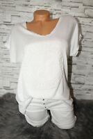 Italy T-Shirt Vintage Gr. 36 38 40 42 Shirt Puder weiß blogger 3D Print NEU