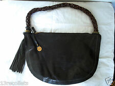 Rabeanco Black Leather Shoulder Bag Woven Handle Tassels Sold Out!