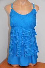 NWT Island Escape Swimsuit Tankini 2pc Set Plus Sz 24W Skirt  Blue Crochet