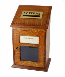 Antique Country House English Oak & Brass Letter Box. Victorian Post Box. c1900