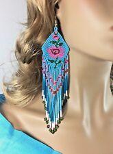 NEW BEADED HANDMADE NATIVE INSPIRED BLUE EXTRA LONG ROSE FLOWER EARRINGS E58/26