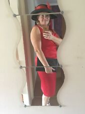 wedding outfit size 14 red dress, new shoes( size 5) new hat and-new clutch bag