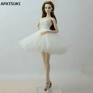 White Short Ballet Dress For Barbie Doll Clothes Evening Dresses Vestido Clothes