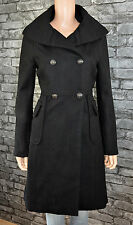 New Long Black Wool Blend High Neck Winter Parka Coat Size 12 *RRP £149