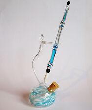 Glasfeder Glasfüller im Set mit farbigen Tintenfass Türkis Weiß