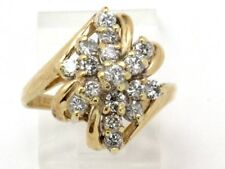 14k Yellow Gold Round Diamond Cluster Right Hand Ring 1.00ct 5grams