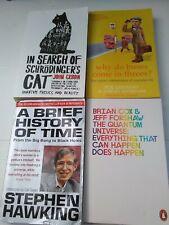 4 Physics books-suit A level student - incl. Stephen Hawkin, Schrödinger's Cat,