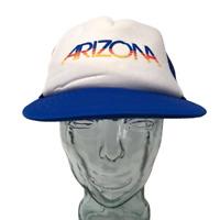 Vintage Otto Arizona Trucker Hat Bubble Lettering Mesh Back OSFM Snapback Blue