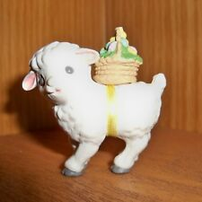 Hallmark Merry Miniature Easter Lamb w/ basket on it's back 1989