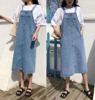 Women Casual Loose Denim Overalls Bib Dress Long Suspender Pinafore Jeans Dress