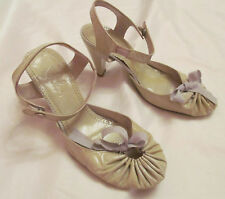 MALOLES cream green patent leather ankle strap gathered toe shoes 38 8 M  **