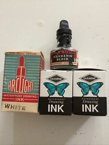 Vintage Arclight White Waterproof Drawing Ink & 2 X Diamine All Boxed