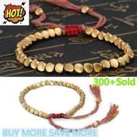 Lucky Rope Handmade Tibetan Buddhist Braided Cotton Beads Bracelet Copper U2G2