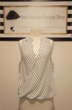 GLASSONS TOP TEE BLOUSE WOMEN TOP BLACK VINTAGE BEAUTIFUL DETAIL STRIPES WHITE