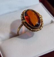 Vintage 14k Gelbgold Groß Madeira Citrin Oval Goldener Topas Größe 6.75 Ring