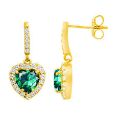 2.99 CT. HALO EMERALD HEART DANGLING EARRINGS 14k YELLOW GOLD PLATED SILVER