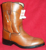 POCONO Leather Children's Youth Rustic Brown Western Kids Roper Boots PW1567 NIB
