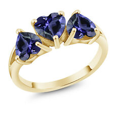 18K Yellow Gold Plated Silver 1.74 Ct Heart Shape Blue Iolite Three-Stone Ring